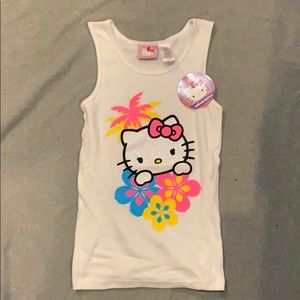 Hello Kitty Girl's White Glitter Tank Top